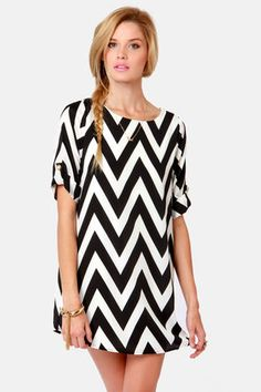 black and white zig zag dress