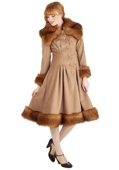 Brown Fur Trim Flare Luxe-y in Love Coat @ ModCloth $270 Gorgeous