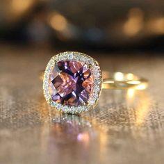 LaMoreDesign Amethyst and Diamond Halo Ring, $648