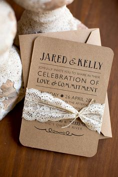 Rustic elegance printed or printable wedding invitations
