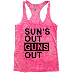 Sun's Out Guns Out Burnout Tank Top Choose Shirt Color W Black Ink... (26 CAD) ❤ liked on Polyvore featuring tops, tank top, racer back tank, black singlet, singlet and burnout shirt