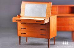 Danish Modern Mid Century Teak Four Drawer Vanity / Dresser. $925.00, via Etsy.
