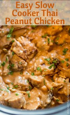 Slow Cooker Thai Peanut Chicken is an easy weeknight meal made with coconut milk, lime juice, peanut butter, ginger and garlic. Skip the delivery! Slow Cooked Meals, Crock Pot Cooking, Slow Cooker Recipes, Crockpot Recipes, Cooking Recipes, Thai Cooking, Cooking Games, Crock Pots, Peanut Butter Chicken Recipe Crockpot