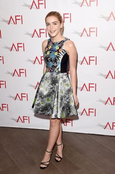 Kiernan Shipka rocked a fun patterned dress on the red carpet.