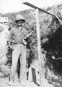 Lieutenant Colonel Arthur Bauchop, commanding officer of the Otago Rifles, New Zealand Expeditionary Force, outside his dugout near No 2 Outpost