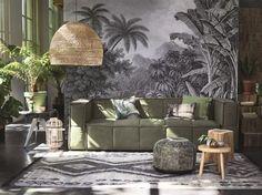 canapé vert, plantes, urban jungle interior, green sofa, HK Living