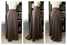 This skirt is lovely, and she did such a beautiful job - out of curtains, no less! - but still way beyond the newbie me. I want to find a simple pattern reminiscent of this, and/or make something just like this when I'm ready.