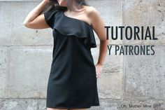 DIY Tutorial y patrones vestido con volante para mujer - Oh, Mother Mine DIY! Sewing Patterns Free, Dress Patterns, Sewing Clothes, Diy Clothes, Diy Vestido, Make Your Own Clothes, Mein Style, Gowns For Girls, Dress Skirt
