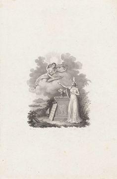 Philippus Velijn   Vrouw krijgt bijbeltekst aangereikt uit de hemel, Philippus Velijn, 1797 - 1836   Een allegorische vrouwenfiguur met een vlam op het hoofd, de goddelijke inspiratie, krijgt van een vrouwenfiguur op een wolkendek een rol aangereikt met de tekst: De spreuken van Salomo.. Tussen hen in een sokkel waarop een beeltenis van een olifant, met daarnaast een anker en twee stenen tabletten met de Romeinse cijfers I tot en met X. Op de sokkel een wierookvat.