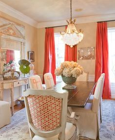 Dodson Daughter 4 Interior Design Dining Table Tangerine Curtains Chandelier © Dodson and Daughter Interiors