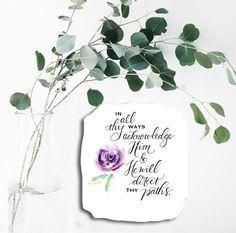 Purple Rose art print watercolor rose wall by HandandHartDesigns