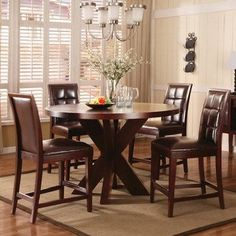 Amazon.com: Modus Hudson 5 Piece Round Counter Height Table Set in Coffee Bean: Home & Kitchen