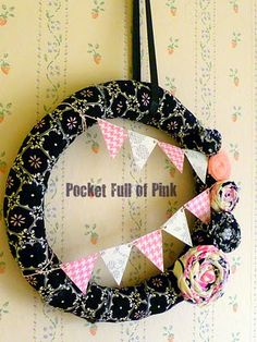 pink and black pennant wreath from pocket full of pink