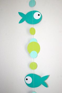 Items similar to Fish garland : Plouf on Etsy fish garland : 8 fish and bubble Under The Sea Crafts, Under The Sea Party, Decoration Creche, Diy For Kids, Crafts For Kids, Paper Fish, Church Crafts, Sea Theme, Mermaid Birthday