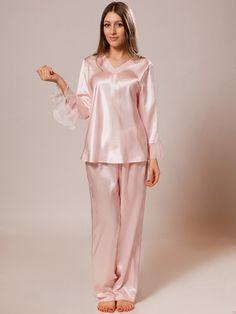 77ee6f2e8d Long Sleeves Silk Pajama Set for Women. Pink ...