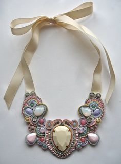 THE ONE soutache statement necklace in ivory by BlackMarketJewels, £70.00
