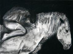 Gray Horse // Illustration Art Original Charcoal Drawing // 12 x 16