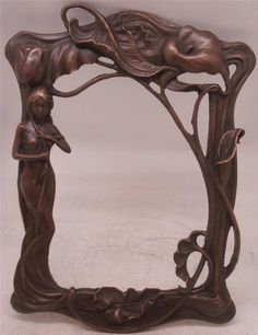 Art Nouveau Lady Solid Bronze Photo / Mirror Frame - Wall Hanging - Lilies