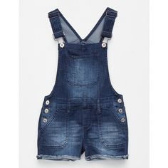 Vanilla Star Premium Frayed Girls Overalls (£20) ❤ liked on Polyvore featuring jumpsuits, blue bib overalls, shorts overalls, short overalls, overalls jumpsuit and cotton jumpsuit