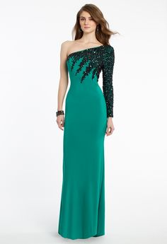 Beaded One Shoulder Long Sleeve Dress from Camille La Vie and Group USA