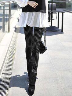 Shop Skinny Leg Pants - Black Stripes Printed Spandex Casual Skinny Leg Pant online. Discover unique designers fashion at StyleWe.com.
