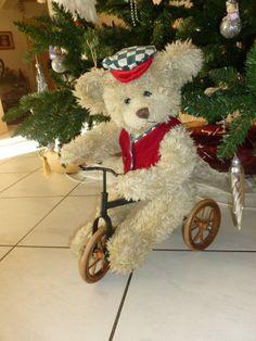 Precious Vintage Teddy bear riding a wooden Bike  Made in AustriaTeddy Bear Coupon 5dollaroff