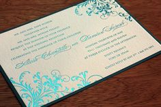 Letterpress invitations printed in metallic foil are getting more popular by the minute.