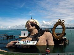 Cast members are seen at the scenery for the opera 'Andre Chenier' by Italian musician Umberto Giordano on a giant floating stage at Lake Constance in Bregenz June Theatre Design, Stage Design, Tv Set Design, Large Scale Art, Stage Set, Artist Life, Art Festival, Photos, Pictures