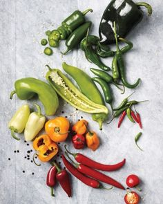Learn which chile peppers are extremely hot and which chile peppers are mild in this spicy guide. Also ways to use different kinds of chile peppers. Comida Latina, Spices And Herbs, In Season Produce, Fruit And Veg, Stuffed Hot Peppers, Food Hacks, Spice Things Up, Food Inspiration, Mexican Food Recipes