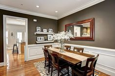 Way to make grey walls look bright. I want the wainscotting.  Laminate, Carpet, Wainscotting, Crown molding, Modern, Traditional