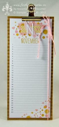 First Hand Emotion: Stampin 'Up! Birthday calendar: end of year