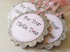 10 Personalized Favor Tag in Silver Glitter by PaperTrailbyLauraB, $12.50