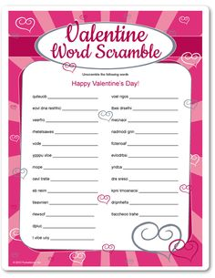 Valentine's Day word scramble printable game - fun games for kids and adults