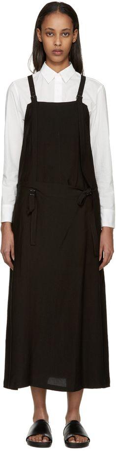 Y'S Black Gabardine Apron Dress. #ys #cloth #dress