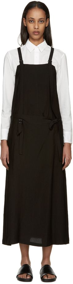 Y's - Black Gabardine Apron Dress