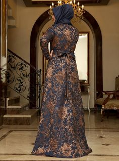 Brocade Evening Dress - Navy Blue - Copper - Saliha