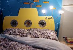 Aquarium theme bedroom detail. Submarine bed