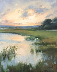 oil painting landscape Summer Evening Marsh by jacki newell Oil ~ 16 x 20 Watercolor Landscape, Abstract Landscape, Watercolor Paintings, Abstract Art, Oil Painting Abstract, Nature Oil Painting, Lake Painting, Painting Trees, Painting People