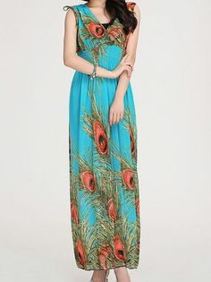 V-Neck Off Shoulder Phoenix Patterns Bohemian Maxi Dresses Beach on buytrends.com
