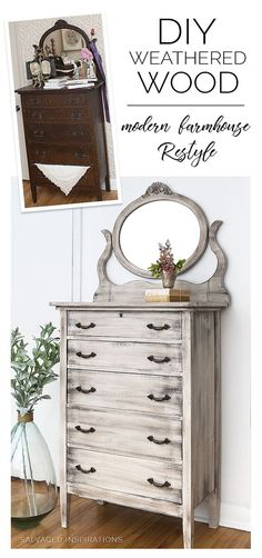 DIY WEATHERED WOOD MODERN FARMHOUSE DRESSER RESTYLE