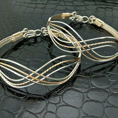 INFINITY Wire Wrapped Bracelets PAIR of by MySecretHeartJewelry