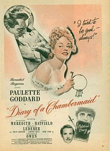 The Diary of a Chambermaid Paulette Goddard, Burgess Meredith 1940s Movies, Old Movies, Diary Of A Chambermaid, Vintage Makeup Ads, Jean Renoir, Paulette Goddard, See Movie, Great Films, Classic Movies