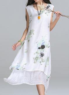 Cotton Linen Floral Short Sleeve High Low Casual Dresses