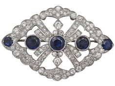 4.84 ct Sapphire and 4 ct Diamond, 9 ct White Gold Brooch - Antique Victorian…