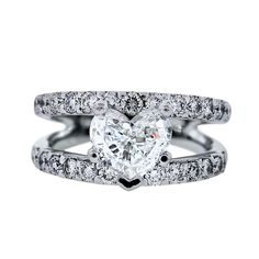 Heart Diamond Ring | ... Diamond Engagement Rings » 14k White Gold Split Shank Heart Diamond
