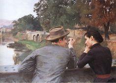 """Emile Friant (1863-1932)  Les Amoureux (Soir d'automne)  Oil on canvas    145 x 111 cm  (4' 9.09"""" x 3' 7.7"""")  Musee des Beaux-Arts (Nancy, Lorraine, France)"""