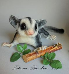 Freakin' Awesome! Felted lifelike Sugar Glider sculpture.