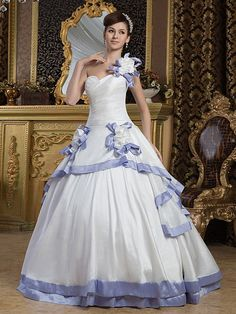 Marjo - Taffeta One Shoulder Ball Gown with Trimmed Flower
