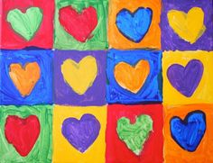For a valentine-themed art lesson on complementary colors, we picked up some canvases (on sale at Michael's) and used inexpensive. Fall Art Projects, Heart Projects, School Art Projects, Yellow Art, Mellow Yellow, Drawing For Kids, Art For Kids, Color Wheel Art, Kandinsky Art
