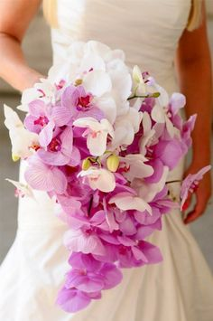 brides of adelaide magazine radiant orchid wedding bouquet flowers Bouquet En Cascade, Cascading Bridal Bouquets, Spring Wedding Bouquets, Orchid Bouquet, Diy Wedding Flowers, Bride Bouquets, Bridal Flowers, Floral Wedding, Trendy Wedding